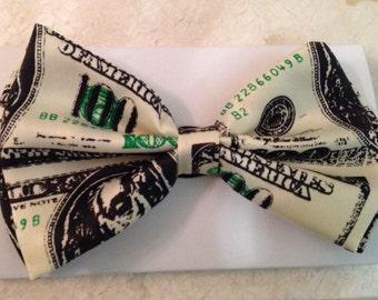 100 Dollar Bill Print Bow Tie, money bowties, dollar bowtie