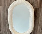 Vintage Extra Large White Oval Wicker Rattan Mirror