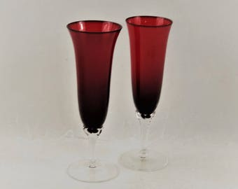 Vintage Ruby Red Tall Champagne Flute Glasses Set of 2