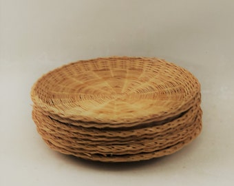 Wicker Paper Plate Holders Set of 8 : straw paper plate holders - Pezcame.Com