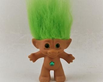 Vintage Ace Novelty Troll Doll, Green Hair