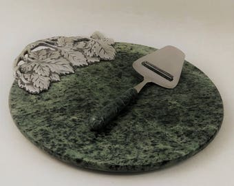 Round Green Marble Cutting Board Cheese Board With Silver Grape Design and Matching Cheese Slicer