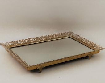 Large Vintage Gold Filigree Vanity Mirror Vanity Tray