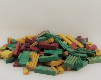 Set of 200 Vintage Wood Building Blocks