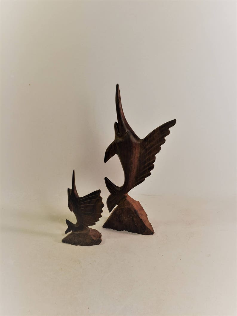 Ironwood swordfish carvings sculptures set of 2 etsy