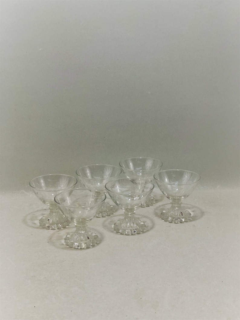 Vintage Small Etched Grapevine Champagne Coupe, Dessert Glasses, Anchor  Hocking Boopie Glasses, Set of 6