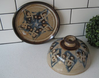 XL Vintage Covered Cheese Dish Butter Dome Studio Signed Handmade Pottery naturalist colours urban rustic ski lodge vibe great gift idea