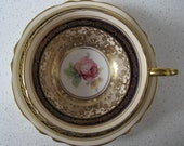 BOGO 40 OFF Vintage Paragon bone china teacup duo - Double warrant backstamp - Abundant gold - pink roses - Navy - England - 1940s