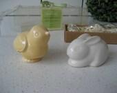 Vintage Hallmark Chick Rabbit Salt Pepper Set New Old Stock kawaii Spring animals birds mini figurines great gift idea family gathering cute