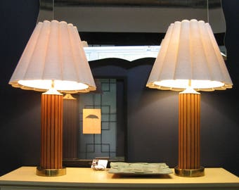 midcentury lighting. BOGO 40% OFF SALE // Pair Of Vintage Table Lamps With Original Bubble Shades - Hans Wegner Style Teak, Brass \u0026 Fabric Danish Modern Midcentury Lighting H