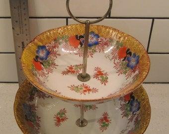 Vintage Japanese Porcelain Two Tier Bowls Handpainted Trico Nagoya metal stand midcentury glazed florals party platter bathroom organizer