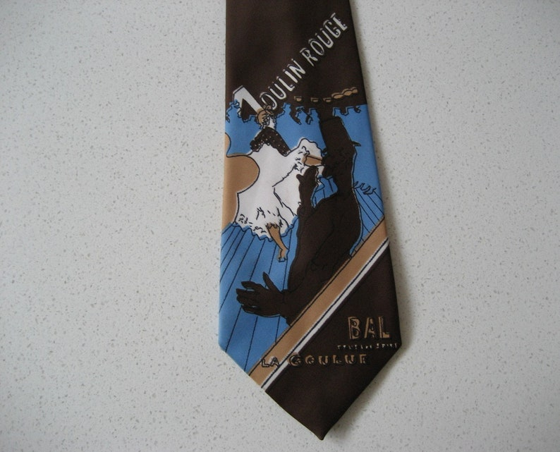 Vintage Champs Elysees Moulin Rouge Polyester Necktie Bal Tous Les Soire La Goulue can can dancer novelty travel gift Dad Husband Boyfriend