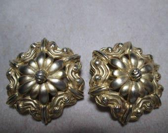 Pr. SCHIAPARELLI Mid Century Clip On  Brushed Goldtone  Earrings Signed