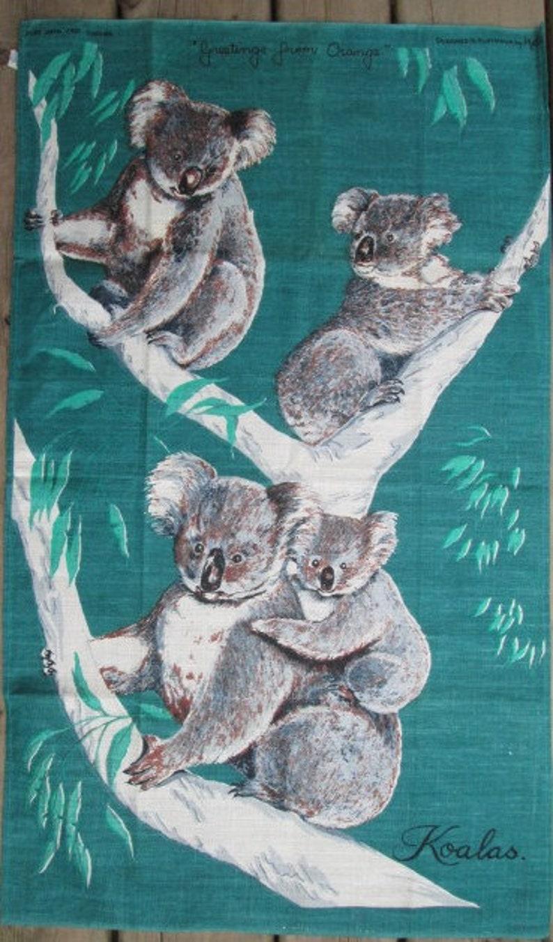 Vintage KOALA  MCM Unused Linen Tea Towel  Greetings from Orange Australia Koalas on Teal by Neil 18 by 31 inches