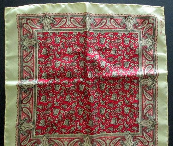 Turnbull /& Asser Silk Burgundy Antique Paisley Pocket Square