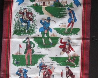 Unused Innes and Cromb Ltd  Scotland HOME & ORIGIN of GOLF 19 by 28 inch Classic Golf Theme Tea Towel to use or frame