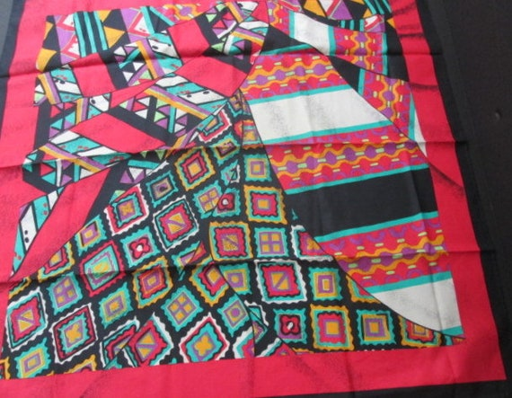 Vintage Jim Thompson Thai Silk Scarf Abstract Red,