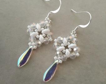 Beaded white crystal drop earrings, Wedding jewellery, Bridal, Dangle drop earrings, Bridesmaid earrings, Romantic wedding