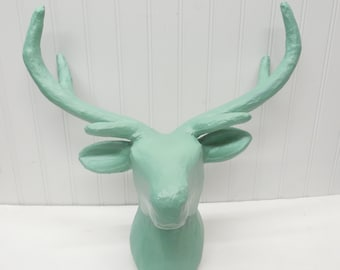 Deer Head-24 Colors/Paper Mache Animal Head/ Faux Taxidermy/Deer/Nursery Decor/Green Wall Decor/Nursery/Bohemian/Boho/Mount/Animal Head/Deer