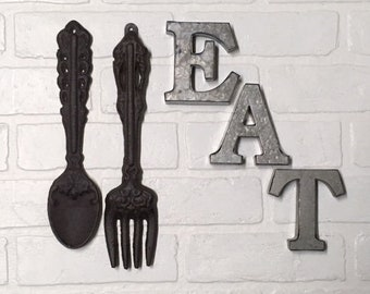 Kitchen Wall Decor, Wall Decor, Fork and Spoon Wall Decor, Kitchen Decor, Kitchen and Dining, EAT sign, Utensils