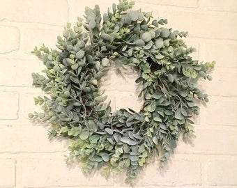 Eucalyptus Wreath, Wreath, Farmhouse Wreath, Green Wreath, Wreaths, Faux Eucalyptus Wreath, Door Wreath