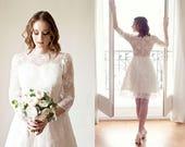 AURELIE // Short wedding dress with long sleeves/ Long sleeves lace wedding dress/ knee length/ Robe de mariée dentelle courte
