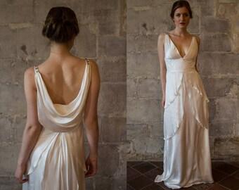 0e36b9a8884 GABRIELLE    Silk wedding dress  Great Gatsby wedding dress  low back v  neck bias cut 1920s 1930s wedding dress  simple  draped