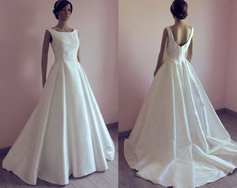 Elegant 50s Style Wedding Dress With Train Taffeta Robe De Mariee Annee 50 Retro Chic