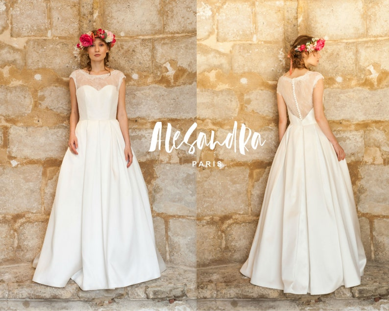 Grace Kelly Wedding Dress.Kelly 50s Vintage Style Wedding Dress Princess Grace Kelly Wedding Dress Lace Satin Elegant Retro Chic Hochzeitskleid