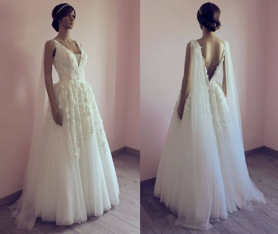 Fleur Tulle Wedding Dress Floral Lace Wedding Dress With Etsy