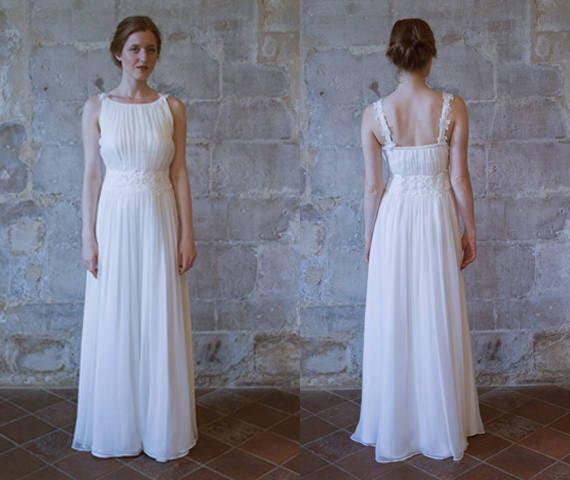 Sample Sale Bohemian Wedding Dress Grecian Wedding Dress Simple Chiffon Wedding Dress Beach Wedding Dress Hochzeitskleid