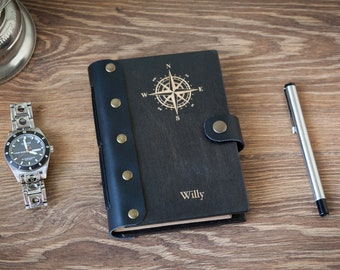 Wooden Journal With Compass, Wooden Notebook, Persinalized Adventure Journal Compass, Wooden Sketchbook, 5th Anniversary Gift For Men
