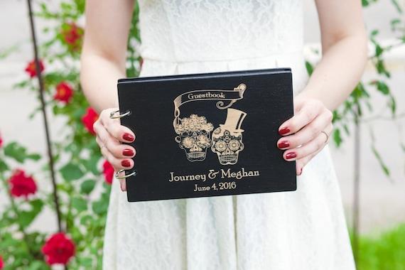 Gothic Guest Book Till Death Do Us Part Sugar Skulls Guest Book For Halloween Wedding Halloween Guest Book Wedding