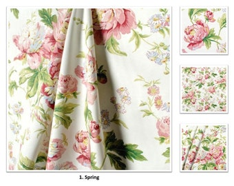Pink floral curtains etsy spring color forever yours cotton floral pink flower 50 100 extra wide custom drapes curtains offer pleated lined drapery panels mightylinksfo