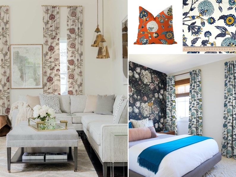 Floral 3 Colors; Birdwatcher; Linen Blend; Bird Jacobean; 50 100 Extra Wide; Custom Curtains; Offer Pleated Lined Drapery Panel Upgrade