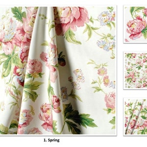 Pink floral curtain etsy spring color forever yours cotton floral pink flower 50 100 extra wide custom drapes curtains offer pleated lined drapery panels mightylinksfo