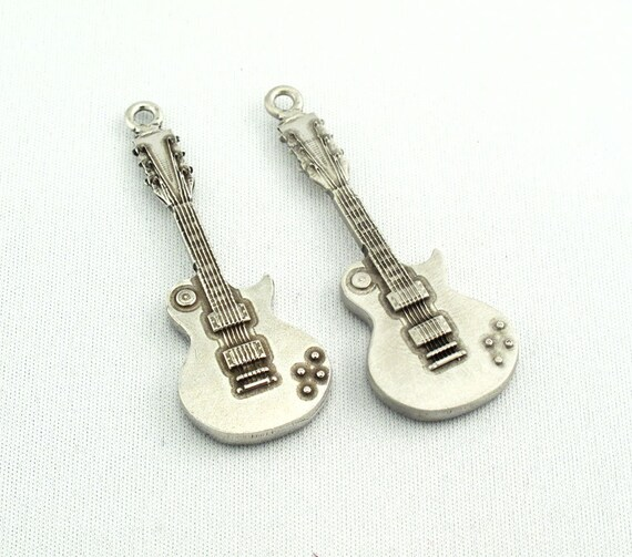 Guitar Pewter Keyring or Bag Charm