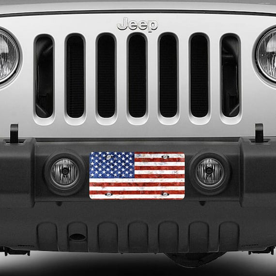 American Flag License Plate Car Tag United States USA Red