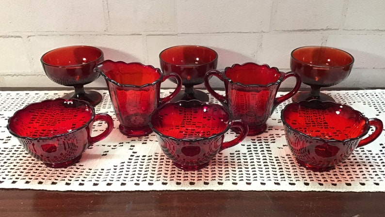 8 Pieces Ruby Red Depression Glassware