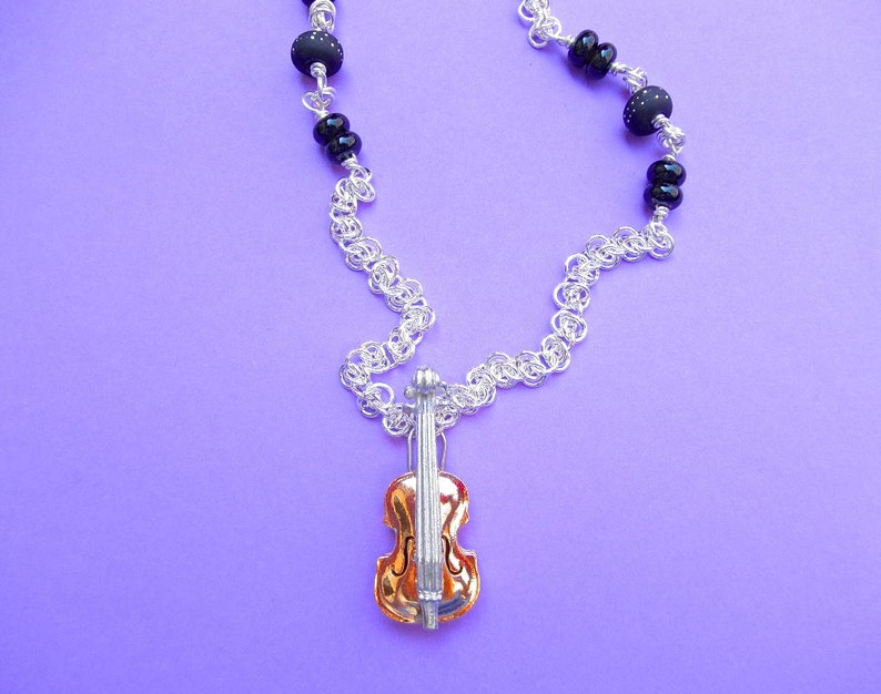 Fancy Violin viola cello bass locket gold plated with sterling silver chain and black lamp work beads