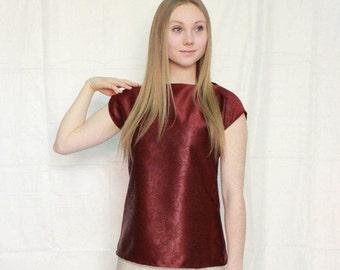 Asymmetrical burgundy pattern throw & go blouse, boat neck