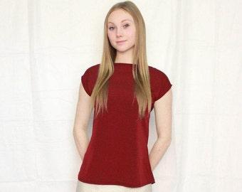 Dark burgundy short sleeve throw & go blouse, boat neck style