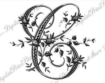 French Rose Alphabet Chalkboard Letter C 001 Monogram Initial Etsy