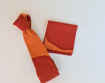 Mens Neckties Or Bowtie Burnt Orange Rust With Matching Pocket Square Rusty Is Alive
