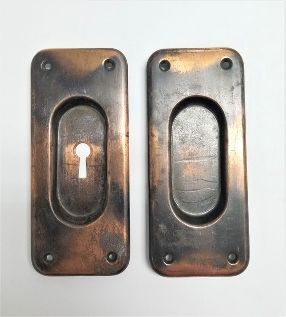 image 0 - Antique Bronze Pocket Door Pulls Choose From Keyed Or Passage Etsy