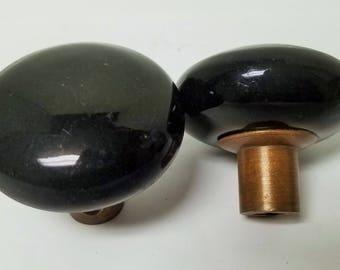 Black Ceramic Vintage Doorknob Set With Bronze Ferrules For Mortise Locks, E0052