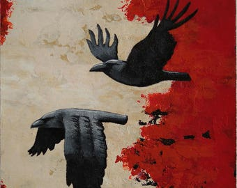 Raven painting, couple of black birds, 2 crows flying, small red black wall art, original 6x6 acrylic painting within an 11x14 inches mount