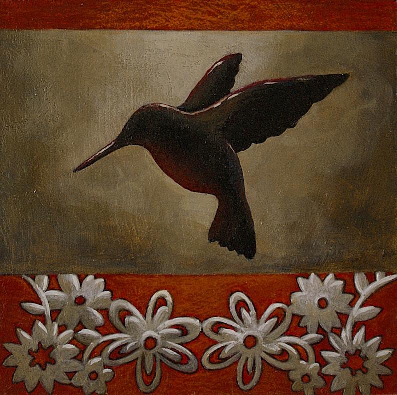 Petite peinture oiseau Tableau oiseau Silhouette colibri et | Etsy