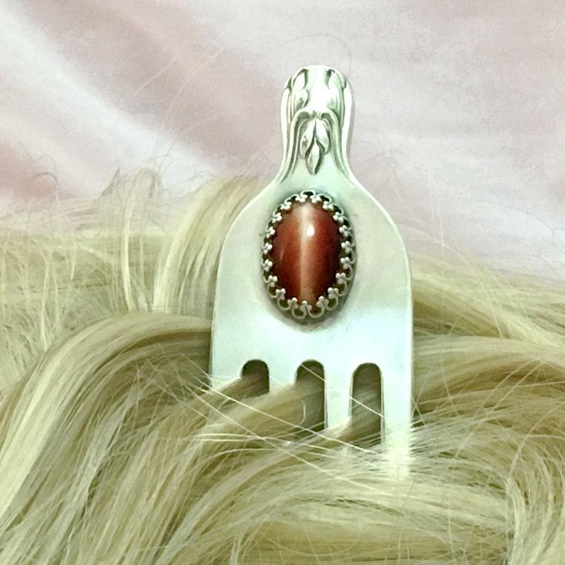 Sterling Hair Fork Pin Red Tigereye Gemstone Vintage Silver Fork Repurposed Silverware Her Wedding Jewelry Gift