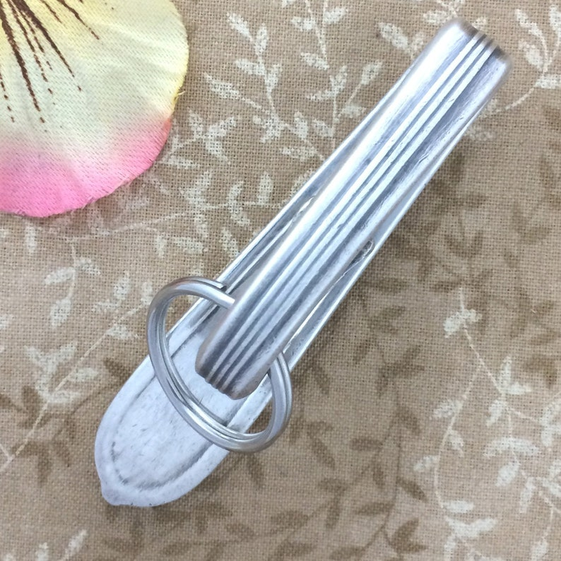 ROYAL ROSE Key Chain Silver Spoon Purse Hook Key Ring Finder Upcycled Vintage 1939 Nobility Silverplate Keychain
